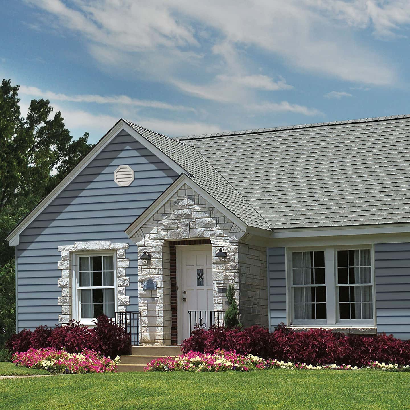 GAF Timberline Natural Shadow Arctic White House