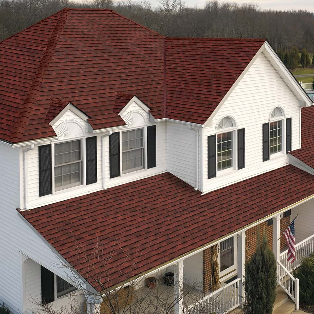 GAF Timberline UHD With Dual Shadow Line Patriot Red House